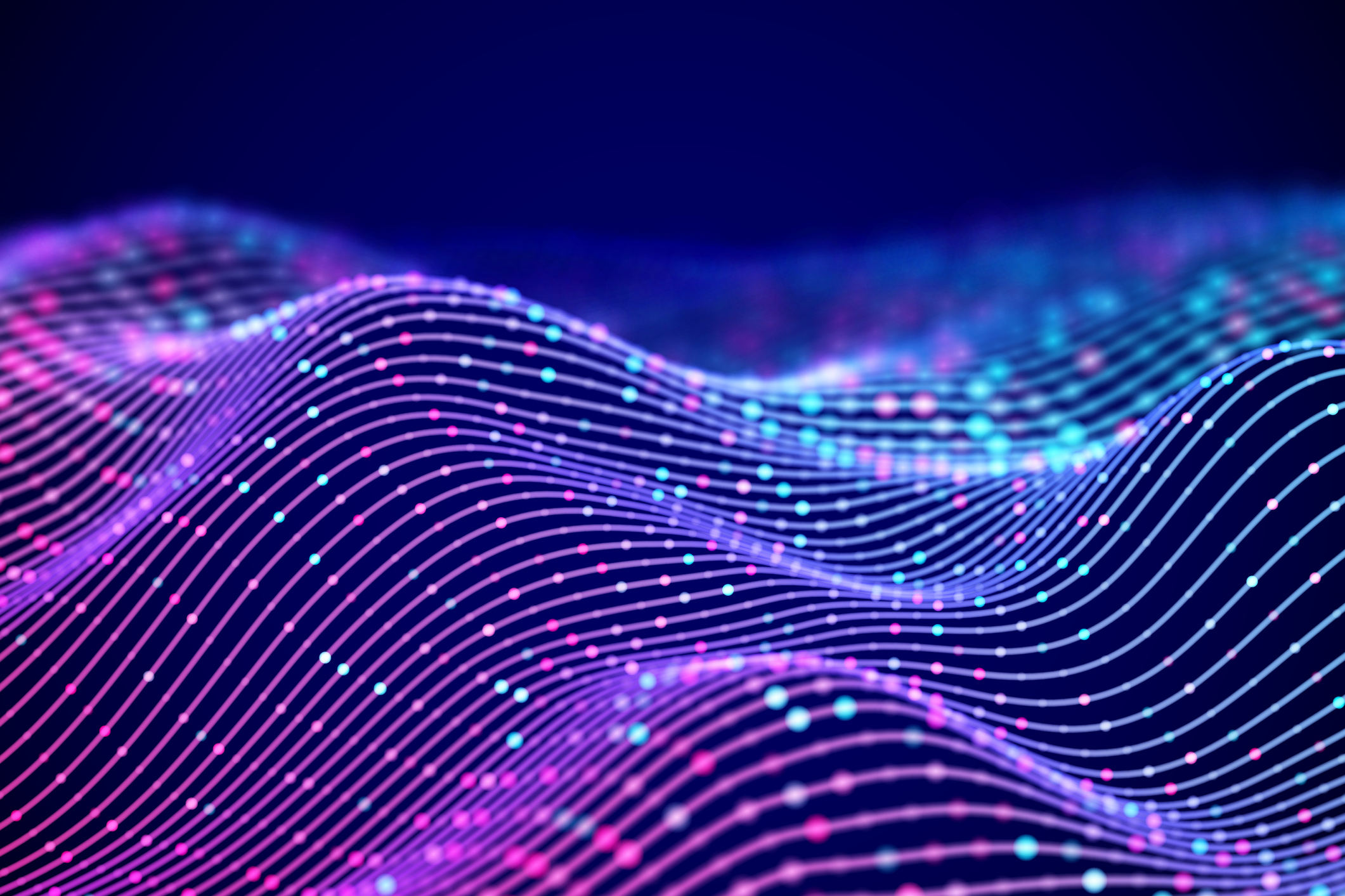 3D Sound waves with colored dots. Big data abstract visualization.
